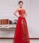 婚纱礼服新款2015新娘结婚红色敬酒服长款