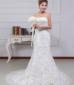 新娘结婚白色蕾丝抹胸拖尾婚纱礼服
